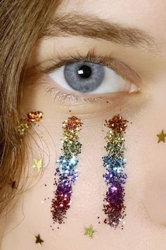 Make-up: glitter makeup, rainbow, glitter, shiny, unicorn, stars, gold, face makeup, natural makeup look - Wheretoget