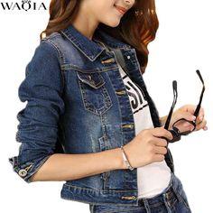 af3c3ab8533 New Women Basic Coat Denim Jacket Plus Size Dark Blue Pocket Denim bomber  Jacket Women Oversized Jeans Coats