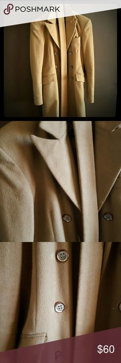 Double Breasted Camel Wool Coat Very warm gorgeous Camel coat with belt, structured shoulders and buttons along the sleeve. Good condition, only flaw is the hardware on the buttons is turning rose gold and a slight tear in the arm reflects the price..seen in 4th pic  Size:4/6 schunk&rosenfeld Jackets & Coats
