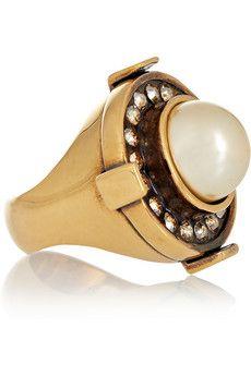 Alexander McQueen Bague dorée ornée de cristaux Swarovksi et d une perle  synthétique   NET ec6232181bb