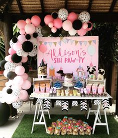 Puppy Themed Dessert Table from a Birthday Puppy Paw-ty Puppy Birthday Parties, Puppy Party, Dog Birthday, Birthday Party Decorations, 7th Birthday Party For Girls Themes, Kids Birthday Party Ideas, Dessert Table Birthday, Birthday Activities, Ideas Party