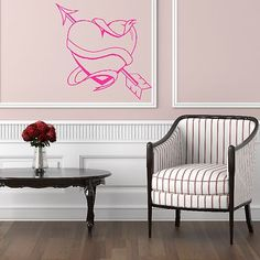 love heart arrow wall sticker design decal transfer vinyl graphic stencil - Designer Wall Stickers