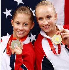 Nastia Liukin (Right) wins Gold and Shawn Johnson (left) wins Silver in the Women's All-Around gymnastics competition in Beijing, 2008.