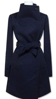Navy Long Sleeve Shawl Collar Self Tie Duffle Coat - Sheinside.com