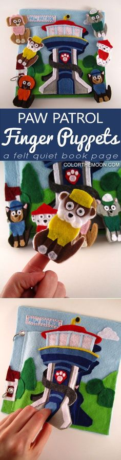 Paw Patrol Finger Puppets! This quiet book page is SO FUN! What a great way to keep the kids busy and quiet! Fans of Paw Patrol will LOVE this quiet book page!