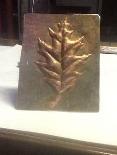 Repousse and chasing copper leaves