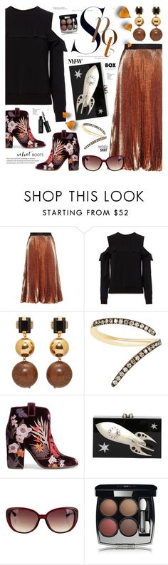 """""""street style-Metallic skirt.cold shoulder top.velvet boots.box clutch"""" by cly88 ❤ liked on Polyvore featuring Christopher Kane, A.L.C., Marni, Sho, Laurence Dacade, Charlotte Olympia, Chanel, Bobbi Brown Cosmetics and Tiffany & Co."""
