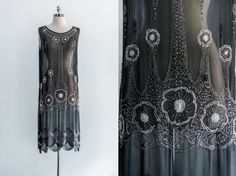 1920s Black Art Deco Chiffon Beaded Flapper Dress. this would be a lot of fun to wear!