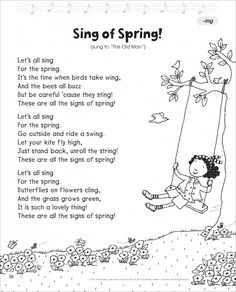 SPRING: Scholastic Teacher Express Illustrated Song Sheets Sing of Spring! (-ing): Short -i Word Family Song - Word Families - Reading - Subject - Scholastic Teacher Express Spring Poems For Kids, Poetry For Kids, Kindergarten Poems, Preschool Songs, Spring Songs For Preschool, Short I Words, Ing Words, Family Songs, Kids Poems