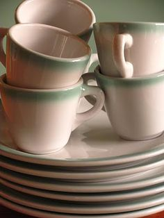 vintage dishes / diner - omelettes. bacon. home fries. ketchup. coffee. more coffee. more coffee. with 1/2 and 1/2   sugars.