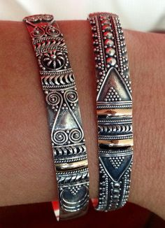 Beautiful silver & bronze bracelet (Thailand)  Set of two bracelets (adjustable)