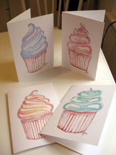 Birthday Greeting Cards - Watercolor Cupcake Art Birthday Cards, Set of 4. $10.00, via Etsy.