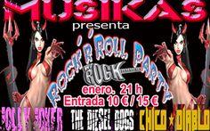 Nos complace anunciarles que CHICO DIABLO será la tercera banda en liza para LOS CONCIERTOS DE MUSIKAS en enero 2016 en la Sala we Rock. Por lo tanto el cartel queda conformado con THE DIESEL DOGS, JOLLY JOKER y CHICO DIABLO. Entradas ya a la venta en Entradium http://entradium.com/es/entradas/rock-n-roll-party Bienvenidos a #rockandrollpartymadrid parte 2