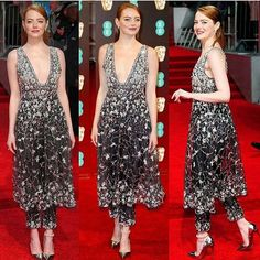 Emma Stone making a strong case for the drouser (that's a dress with trousers) in Chanel couture. Go to Grazia Daily now for all the best #BAFTAs red carpet looks - link in bio  via GRAZIA UK MAGAZINE OFFICIAL INSTAGRAM - Fashion Campaigns  Haute Couture  Advertising  Editorial Photography  Magazine Cover Designs  Supermodels  Runway Models