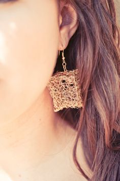 Hand Crotchet Gold Wire Cube Earrings Mykiss Love by MykissLoveArt, $45.00