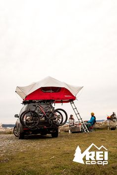 The Yakima SkyRise Rooftop Tent: Only at REI. Shop now. Go ahead, take the scenic route. Linger by the sea. Lace up your boots to see the sunset instead of hustling to set up camp. Camp is already up—way up, above your head. The Yakima SkyRise Rooftop Tent is lightweight, secure and easy to install, even on small cars, and no tools are required. It features a big skylight, a waterproof rainfly and a comfy foam pad. You can get this delirious freedom by Yakima only at REI.