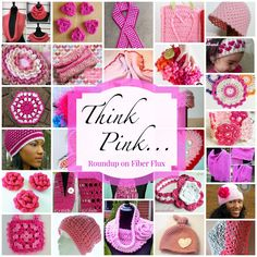 "Fiber Flux has rounded up 40 patterns to ""think pink"" in October!"