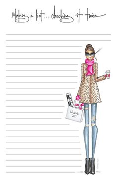 lined notepad, packaged in a clear sleeve Planner Inserts, Planner Pages, Planner Stickers, Note Paper, Writing Paper, Printable Paper, Journal Cards, Happy Planner, Fashion Sketches
