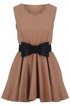 Sleeveless Bow Embellished Belted Dress