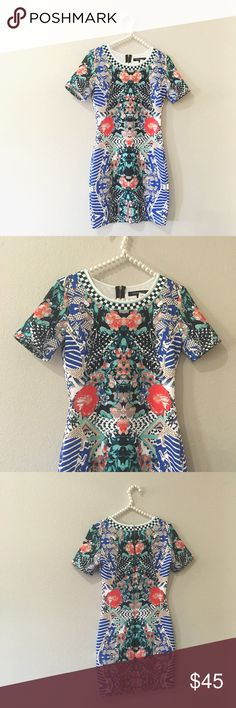 FINAL PRICE❤️Jealous Tomato Printed Bodycon Dress So pretty and perfectly on trend! Abstract mixed print. Super stretchy. Size medium. No trades!! 011181650gwpg Jealous Tomato Dresses Mini