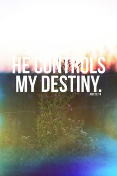 So he will do to me whatever he has planned. He controls my destiny. (Job 23:14) God has an assignment for you that nobody else can fulfill. God needs you. He needs your gifts, your smile, your love, your passion. You are a part of His divine plan.