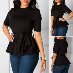 e58e19a35fa85 Short Sleeve Belted Round Neck Black Blouse