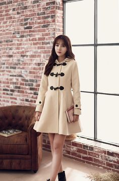 Japanese style - the horn button wool coat Slim A word skirt hooded coat
