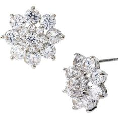 Betsey Johnson Clear Stone Flower Stud Earrings ($20) ❤ liked on Polyvore featuring jewelry, earrings, silver, betsey johnson jewelry, betsey johnson, flower stud earrings, floral earrings and floral jewelry