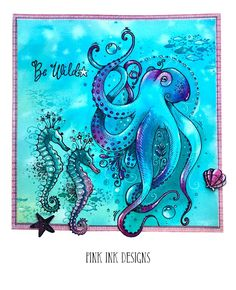 Octopus stamp with bonus fabric image 5 Shoal Of Fish, Ink Stamps, Watercolor Cards, Fabric Painting, Octopus, Cardmaking, How To Draw Hands, Artwork, Pink
