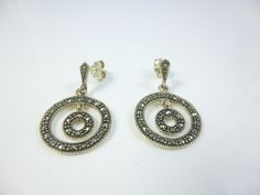 Marcasite Earrings  Sterling Silver Earrings,  Circle Earrings, Dangle Earrings by perlizjewelcreations on Etsy