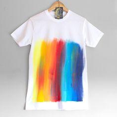 RAINBOW T SHIRT. 100% organic cotton T shirt. Hand painted.