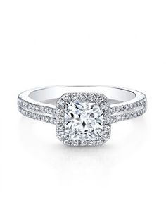 IDEAL SQUARE DIAMOND HALO DOUBLE SHANK ENGAGEMENT RING