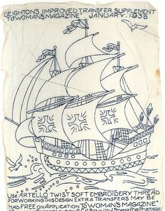 Ship embroidery transfer