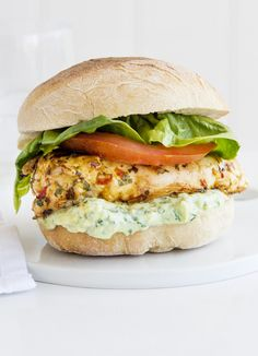 Lime and chilli chicken sandwich with Greek yogurt guacamole - a quick chicken sandwich for one. Coat a chicken breast in a chilli-lime marinade, cook in a griddle pan and pop in a bun with guacamole, lettuce and tomato.
