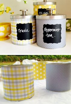 Upcycle Tin Can Storage with Scrapbook Paper | Click Pic for 28 DIY Kitchen Decorating Ideas on a Budget | DIY Home Decorating on a Budget