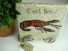 C'est Bon Cajun Crawfish   Decorative Tile with stand by mydecor8, $8.95
