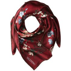Valentino Flemish Flowers Twill Scarf (3.230 NOK) ❤ liked on Polyvore featuring accessories, scarves, red, valentino scarves, floral shawl, flower scarves, floral print scarves and red shawl