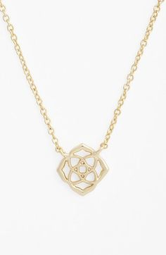"How smart was Kendra Scott when designing her pretty quatrefoil logo? Its delicate, classic beauty makes a darling pendant that's tastefully subtle about revealing its trendy brand name. Light, layerable and likeably priced to boot, this necklace is an all-around winner. <ul> <li>15"" length; 2"" extender; 1/2"" pendant drop.</li> <li>Lobster clasp closure.</li> <li>14k-gold or rhodium plate.</li> <li>By Kendra"