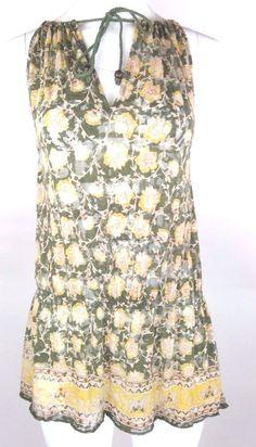 539caf078c0 Heritage 1981 Peplum Top Green Cotton Sz M Sleeveless Floral Print Sheer AB   Heritage1981