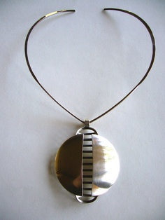 Necklace |  David Anderson, C 1960's.  Norway.  Sterling silver large rib cage pendant choker.