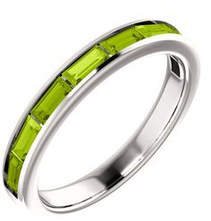 ApplesofGold.com - 8-Stone Baguette Peridot Ring, 14K White Gold Jewelry $425.00