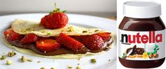 Strawberry Nutella Crepes ~ Ingredients: Crepes, Sliced Strawberries, Nutella, Icing sugar (optional).   Directions: 1.  Spread the nutella over the crepe and add as many strawberries as you like!   2.  Sprinkle icing sugar.