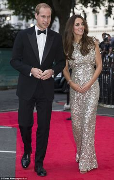 The Duke and Duchess of Cambridge.  Dress: Jenny Packham  Where: The inaugural Tusk Conservation Awards at the Royal Society in London.