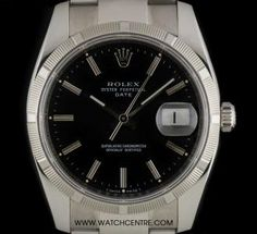 Rolex Stainless Steel Oyster Perpetual Black Baton Dial Date 115210 Rolex Oyster Perpetual, Vintage Rolex, Oysters, Stainless Steel, Watches, Luxury, Black, Black People, Clocks