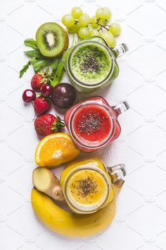 Set of fruits and berries smoothies ~ Food & Drink Photos ~ Creative Market - Fruit Drinks Berry Smoothie Recipe, Raspberry Smoothie, Fruit Smoothies, Fruit Drinks, Healthy Smoothies, Healthy Drinks, Smoothie Recipes, Fruit Photography, Food Styling