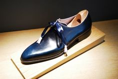 A bespoke model based on the Arca last in Blue with pink lining and piping         A bespoke model based on the Belphégor last with st...