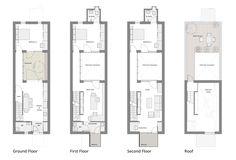 narrow row house floor plans - Google Search
