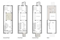 narrow row house floor plans - Google Search