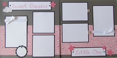 *PLEASE NOTE this item is made to order. Please allow three days for completion of your pages once I have received payment. Thanks!*  This sweet Sweet Dreams Little One 12x12 two page layout is perfect for recording precious memories of your little one sleeping. This layout is a perfect addition to a first year baby album. Created on gray cardstock and accented with counting sheep paper, this layout features DOUBLE MATS for SIX PHOTOS - two 4x6 standard size photos, two 3.5x5 photos and two…