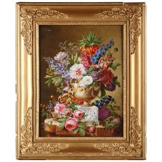 "Hennequin - ""Still-Life With a Bouquet"" - Paris Porcelain Plaque, 1840 Framed Wall Art, Framed Art Prints, Wall Canvas, Wall Pictures, Wall Plaques, Kite, Picture Wall, Cool Furniture, Porcelain"